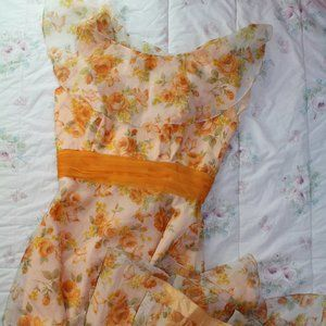 Vintage Sylvia Ann Orange Floral Butterfly Dress